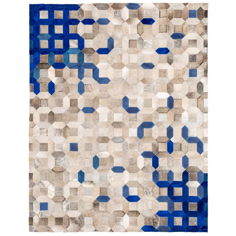 Sophisticated, Yet Classic Trellis Blue Cowhide Area Floor Rug For Sale
