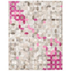 Pink, gray tessellation Trellis Pink Customizable Cowhide Area Floor Rug Large