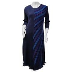 Sophy Cunson Size 2/4 Navy Micro Pleated Midi Dress