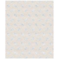 Soprano Beige, Plain Designer Hand Knotted Wool Blend-Silk Rug