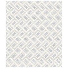 Soprano Grigio, Modern Designer Hand Knotted Wool Blend-Silk Rug