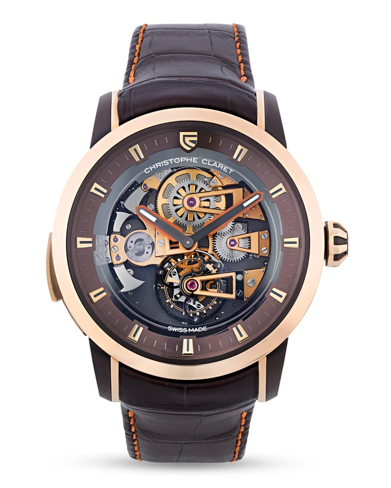 Hailing from the Christophe Claret limited edition Soprano collection, this watch possesses two of the most sought after complications among luxury timepiece collectors: a tourbillon movement and minute repeater. The tourbillon was specially