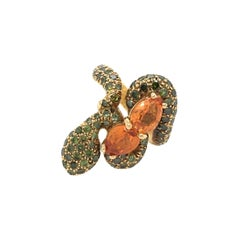 Sorab & Roshi Gold, Orange Sapphire and Green Garnet Snake Ring