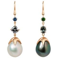 Soraya 18 Karat Gold, Grey Spinels, Sapphire, Tsavorite and Pearls Earrings