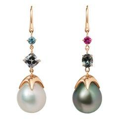 Soraya 18 Karat Gold, Grey Spinels, Tourmaline, Topaz and Pearls Earrings