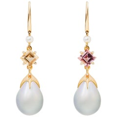 Soraya 18 Karat Gold, Pink and Golden Tourmalines, Diamonds and Pearls Earrings
