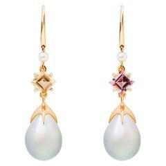 Soraya 18 Karat Gold, Pink and Golden Tourmalines, Diamonds and Pearls Earrings