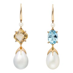 Soraya 18 Karat Rose Gold, Blue and Yellow Topaz, Diamonds and Pearls Earrings