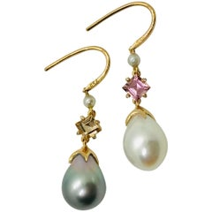 Soraya 18k Rose Gold, Pink and Golden Tourmalines, Diamonds and Pearls Earrings