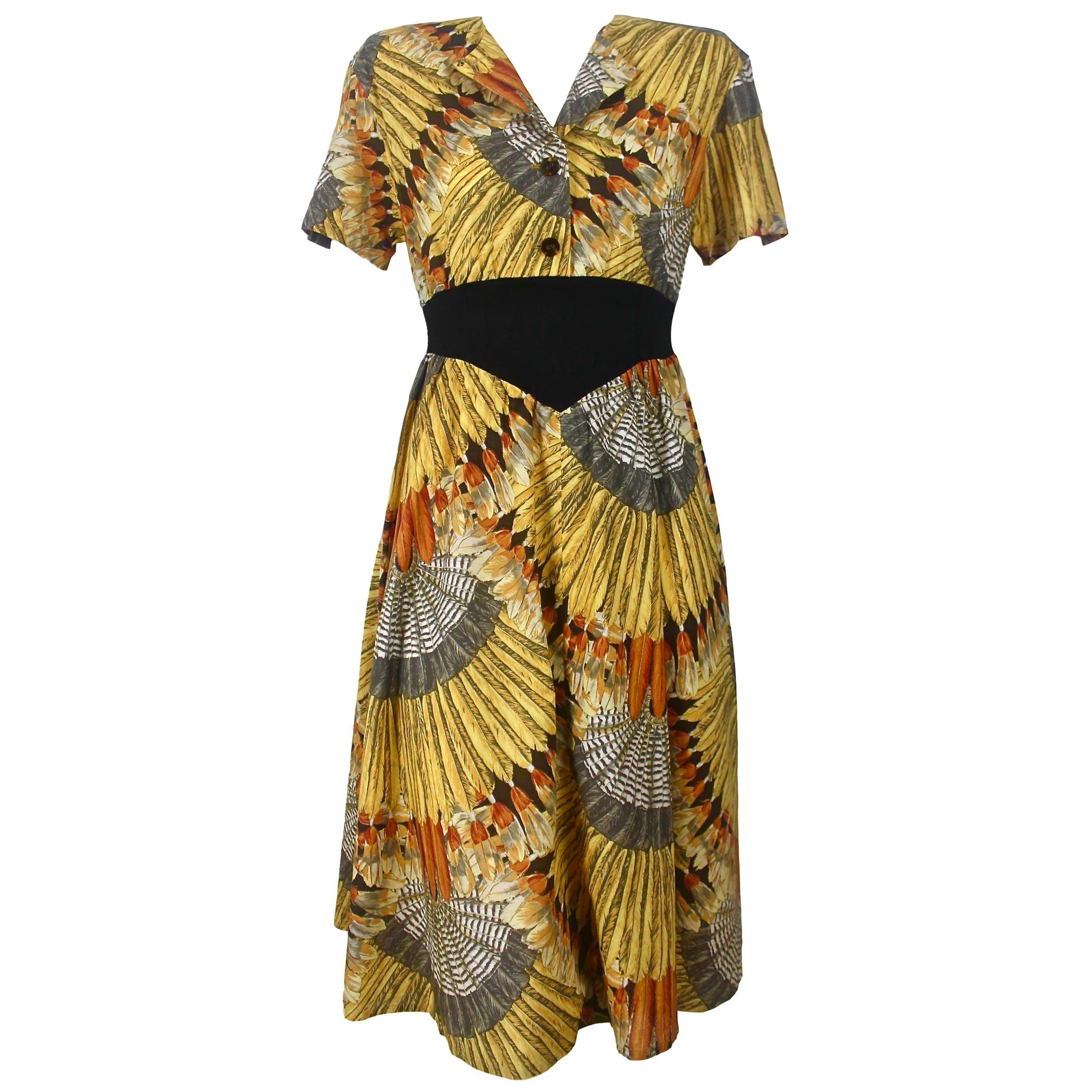 Sorelle Fontana Feather Print Dress