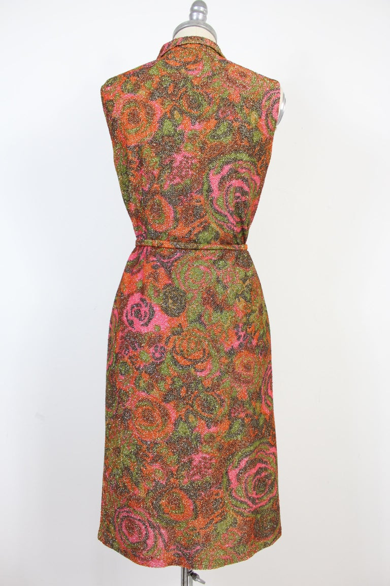Sorelle Fontana vintage lamè dress 1960s. Composition wool, floral theme. Museale rare dress. Collar with buttons covered in lamè wool. Waist belt. Sleeveless party cocktail dress. Length at the knee. Excellent vintage condition.  The term lamè