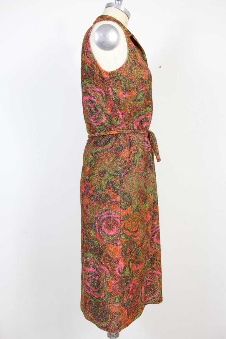 Brown Sorelle Fontana Vintage Dress 1960s Red Lamè Iridescent Wool Floral For Sale