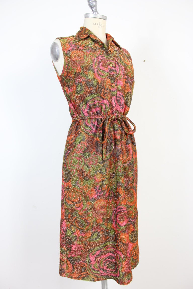 Sorelle Fontana Vintage Dress 1960s Red Lamè Iridescent Wool Floral In Excellent Condition For Sale In Brindisi, Bt