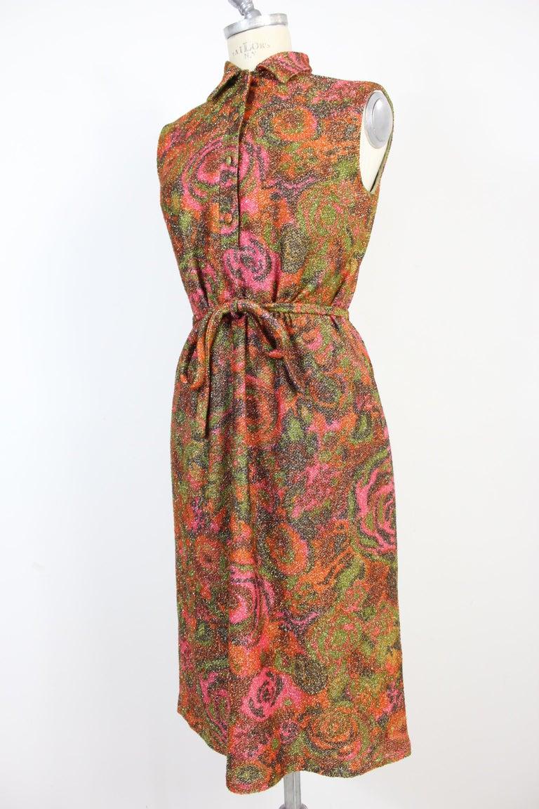 Women's Sorelle Fontana Vintage Dress 1960s Red Lamè Iridescent Wool Floral For Sale