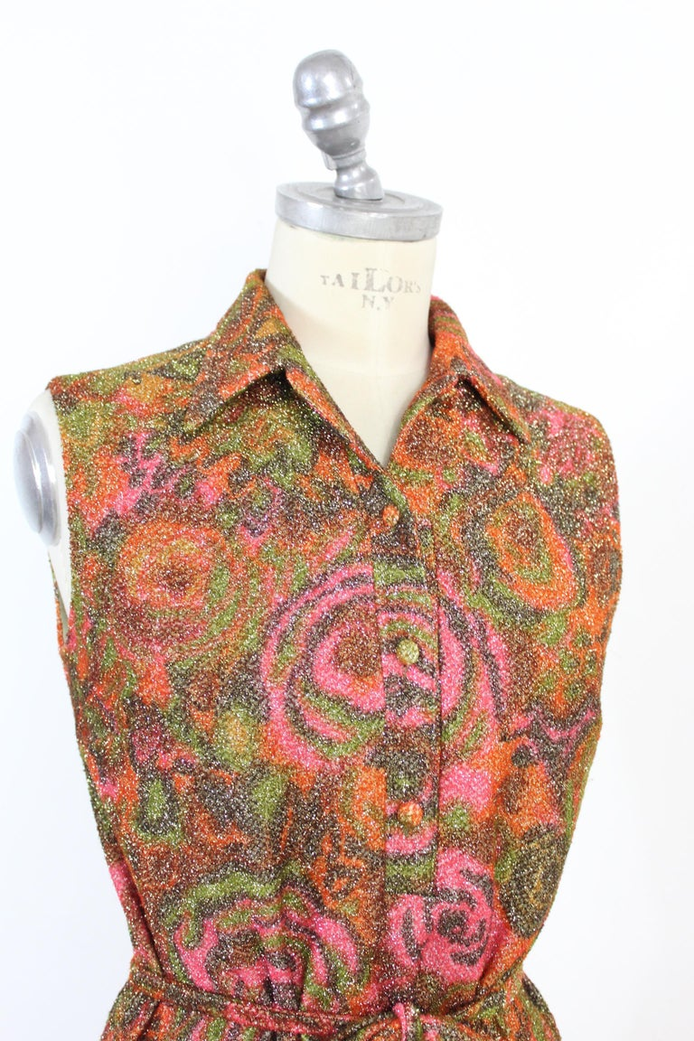 Sorelle Fontana Vintage Dress 1960s Red Lamè Iridescent Wool Floral For Sale 2
