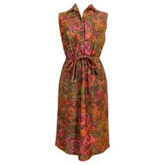 Sorelle Fontana Vintage Dress 1960s Red Lamè Iridescent Wool Floral