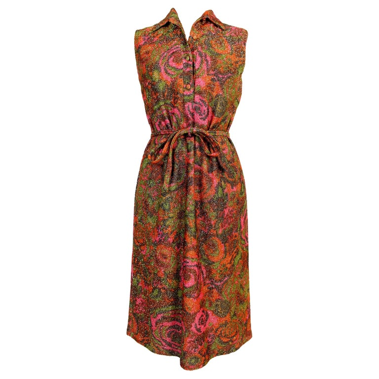 Sorelle Fontana Vintage Dress 1960s Red Lamè Iridescent Wool Floral For Sale