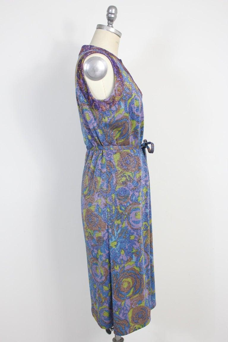Gray Sorelle Fontana Vintage Dress Blue Lamè Wool Cocktail Party 1960s For Sale