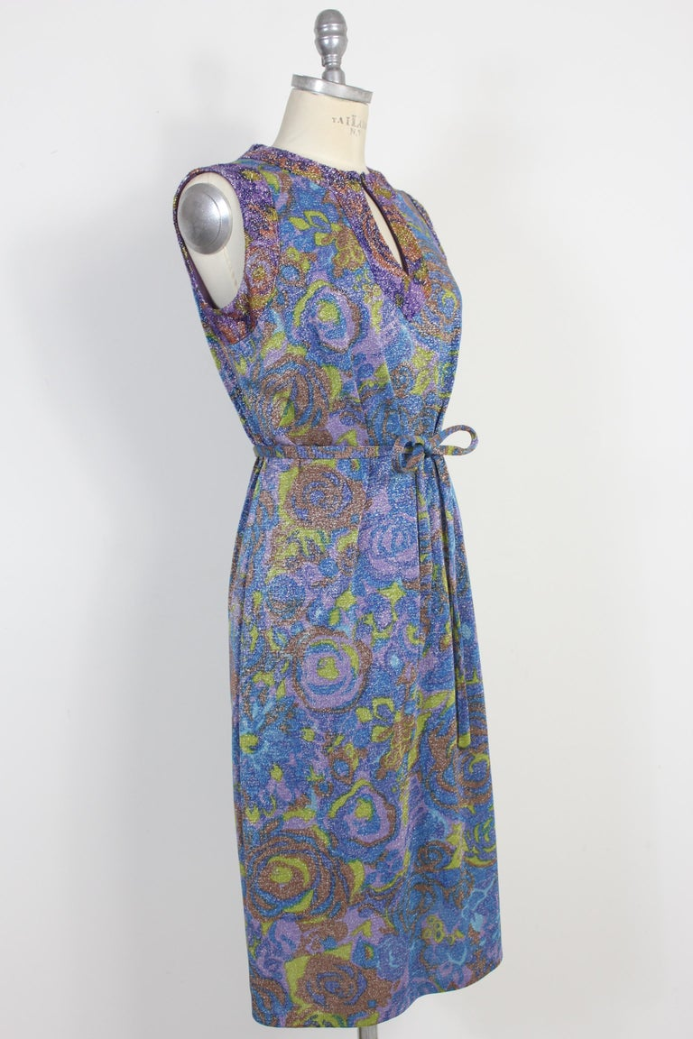 Sorelle Fontana Vintage Dress Blue Lamè Wool Cocktail Party 1960s In Excellent Condition For Sale In Brindisi, Bt