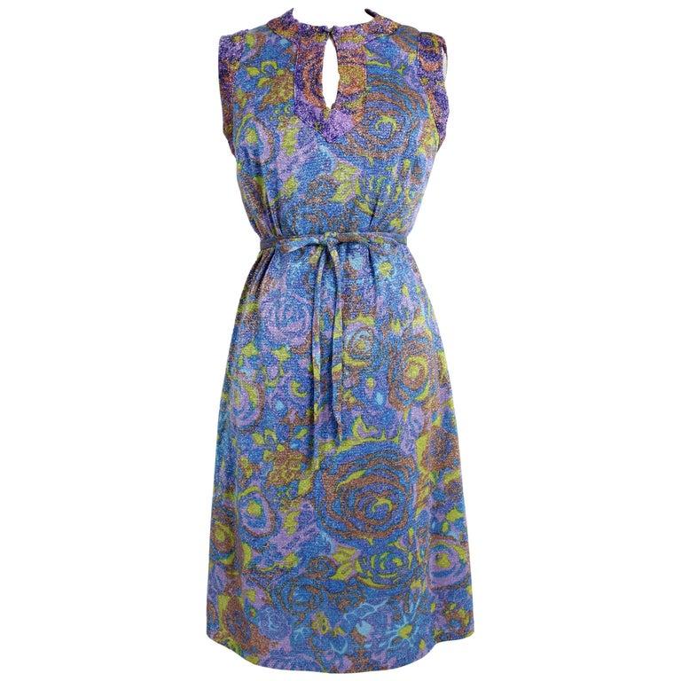 Sorelle Fontana Vintage Dress Blue Lamè Wool Cocktail Party 1960s For Sale
