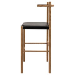 Soren Bar Stool in Cinnamon-Stained Ash and Black Leather