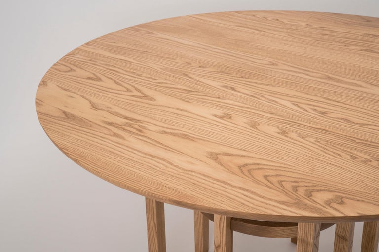 American Soren Dining Table in Cinnamon-Stained Ash and Black Leather For Sale
