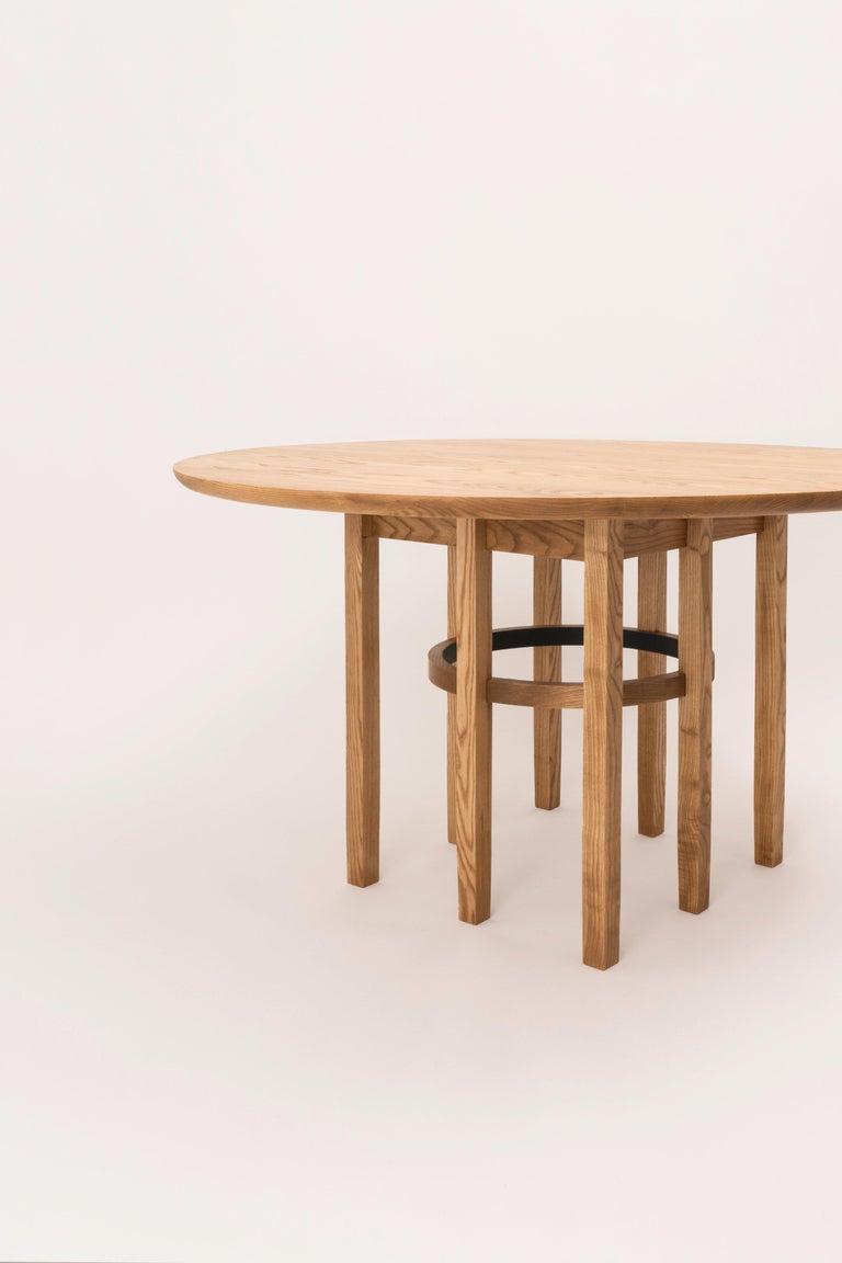 Vegetable Dyed Soren Dining Table in Cinnamon-Stained Ash and Black Leather For Sale