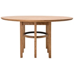 Soren Dining Table in Cinnamon-Stained Ash and Black Leather
