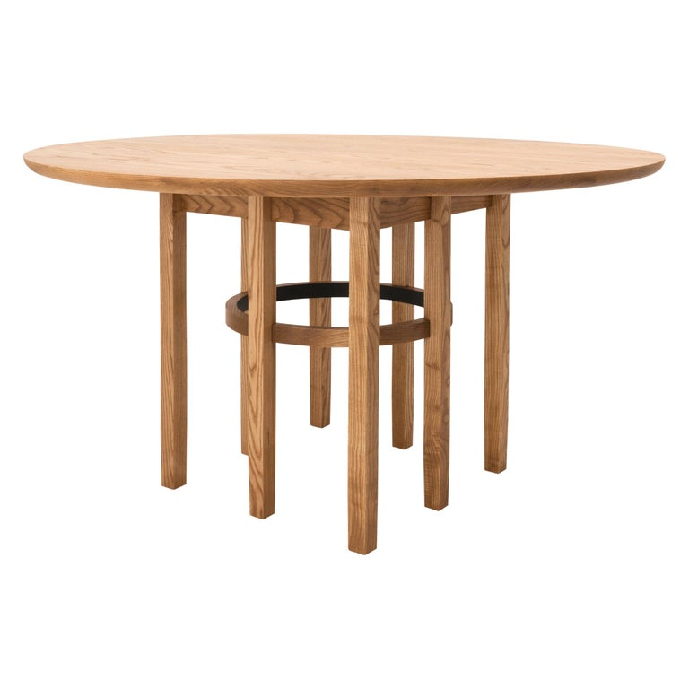 Soren Dining Table in Cinnamon-Stained Ash and Black Leather For Sale