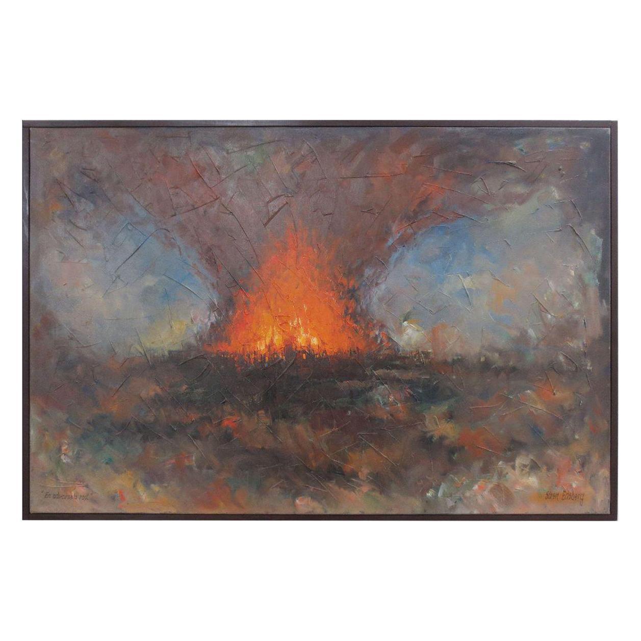 "Soren Edsberg ""Abstract Volcanic Landscape"" Mid Modern Masterpiece, circa 1970"