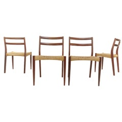 Soren Ladeforged for SL Mobler Danish Teak Papercord Dining Chairs Midcentury