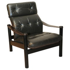 Soren Nissen & Ebbe Gehl Leather Black Safari Chair with a Brown Suede Back