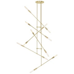 Sorenthia Grand Mid-Century Modern Brass Chandelier, Studio DUNN Floor Model