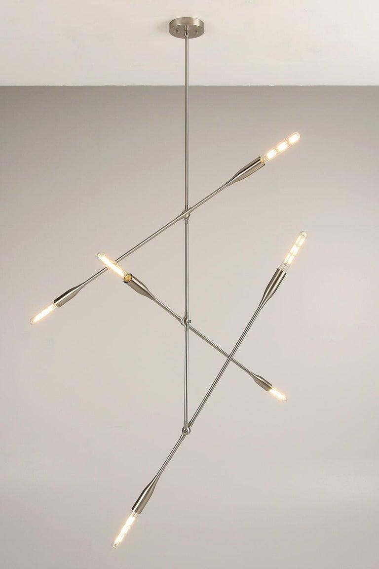 Sorenthia three arm contemporary light fixture custom made by studio dunn in new