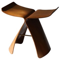 "Sori Yanagi, Early Production ""Butterfly"" Stool, Walnut, Brass, Tendo Mokko 1954"