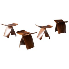 "Sori Yanagi, Early Production ""Butterfly"" Stools Walnut, Brass, Tendo Mokko 1954"