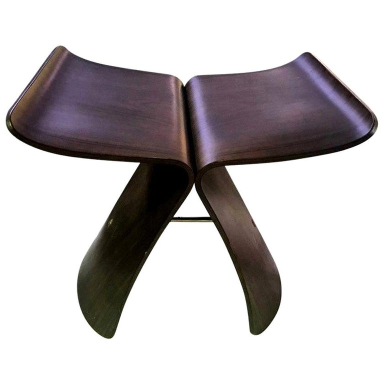 Sori Yanagi Japanese Designer Midcentury Signed Bent Rosewood Butterfly Stool For Sale