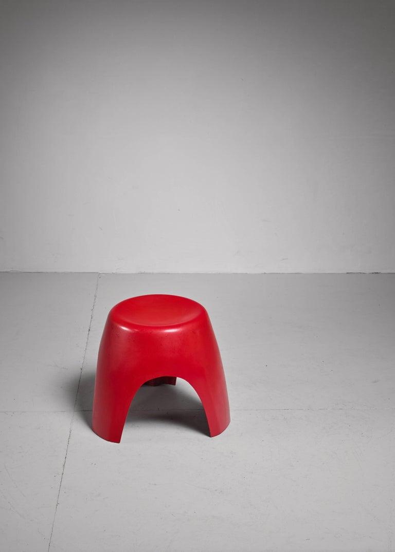 Mid-Century Modern Sori Yanagi Rare Early Red Elephant Stool for Kotobuki, Japan For Sale