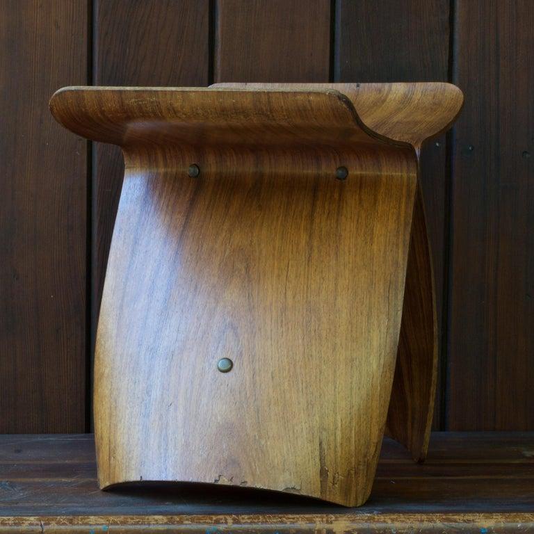 Veneer Sori Yanagi Rosewood Butterfly Stool Japanese Midcentury Architect Design For Sale