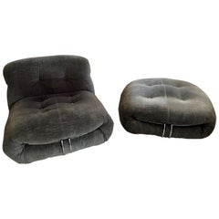 Soriana Chair and Ottoman by Afra & Tobia Scarpa for Cassina, circa 1970
