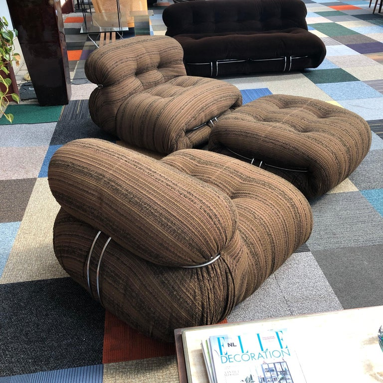 Soriana Chairs and Ottoman by Afra & Tobia Scarpa for Cassina, Italy For Sale 10