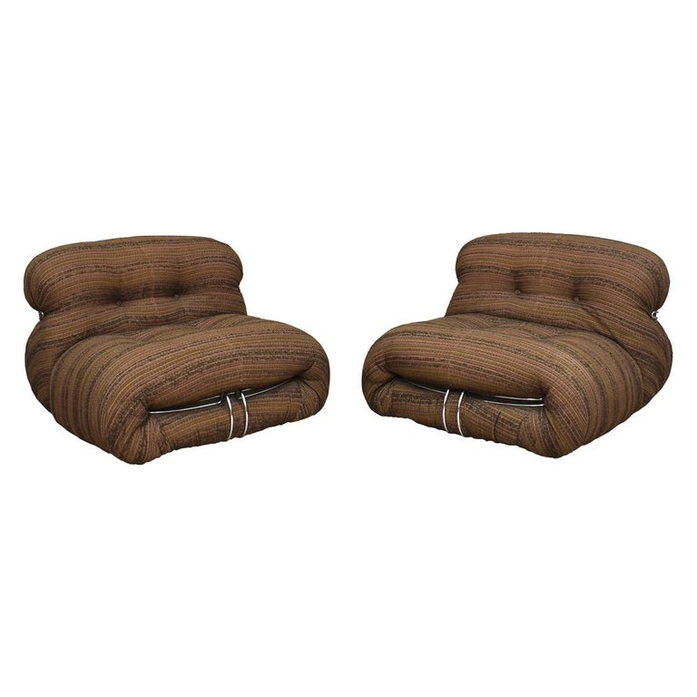 Mid-Century Modern Soriana Chairs and Ottoman by Afra & Tobia Scarpa for Cassina, Italy For Sale