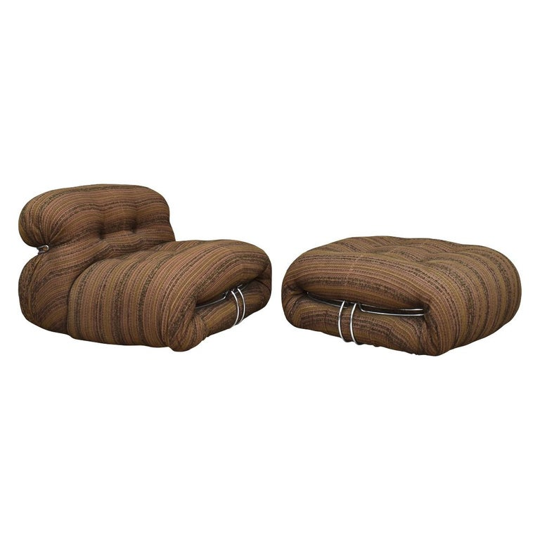 Soriana Chairs and Ottoman by Afra & Tobia Scarpa for Cassina, Italy In Good Condition For Sale In Pijnacker, Zuid-Holland