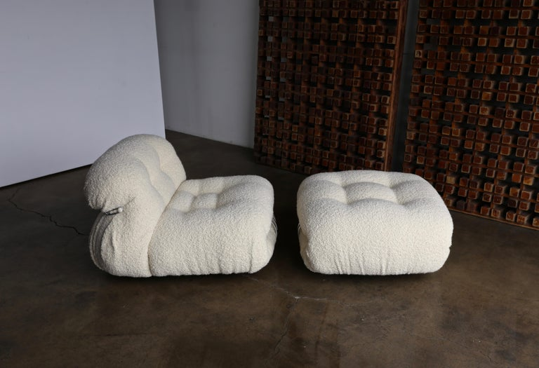 Soriana lounge chair and ottoman by Afra & Tobia Scarpa for Cassina.   This set has been upholstered in a beautiful soft alpaca boucle.   The lounge chair measures: 37.5