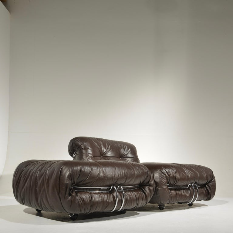 Soriana Lounge Chair and Ottoman with Knoll Leather by Scarpa for Cassina In Good Condition For Sale In Los Angeles, CA