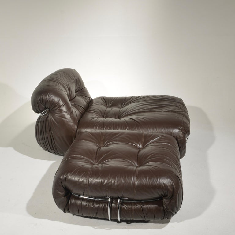 Late 20th Century Soriana Lounge Chair and Ottoman with Knoll Leather by Scarpa for Cassina For Sale