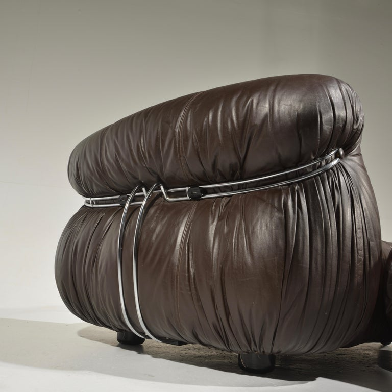 Soriana Lounge Chair and Ottoman with Knoll Leather by Scarpa for Cassina For Sale 2