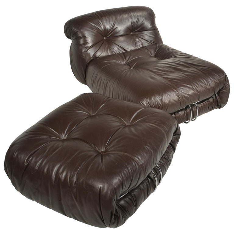 Soriana Lounge Chair and Ottoman with Knoll Leather by Scarpa for Cassina For Sale