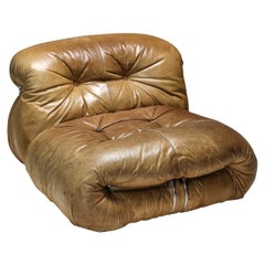 Soriana Lounge Chair in Brown Leather by Afra & Tobia Scarpa, 1969