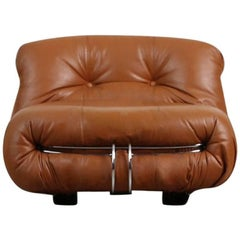 Soriana Lounge Chair in Cognac Leather by Afra & Tobia Scarpa for Cassina